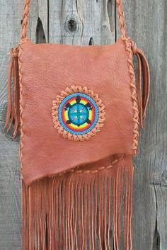 Buckskin leather handbag with beaded turtle totem Crossbody bag Fringed leather handbag