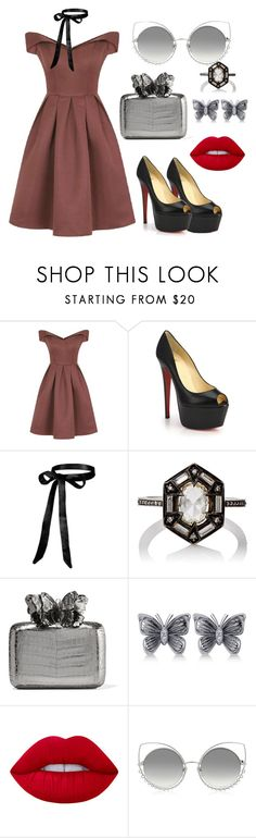 """""""Untitled #221"""" by pehpalad on Polyvore featuring Chi Chi, Christian Louboutin, Cathy Waterman, Nancy Gonzalez, Allurez, Lime Crime and Marc Jacobs"""