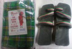 Free shipping-GreenMasai bespread blanket throw+Masai tire sandal(U.S size 11.0)