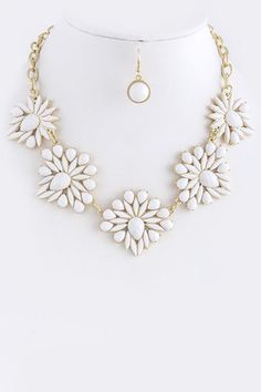 Nordic Nights Cluster Statement Necklace - White