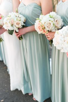 Before you head off into the beautiful weekend ahead, we've got a pretty little seafoam and blush number from Brita Photography that will have your heart a-racing. Dusty Shale Bridesmaids, Mint Bridesmaid Dresses, Bridesmaid Flowers, Wedding Bridesmaids, Wedding Dresses, Wedding Bouquets, Wedding Flowers, Wedding Pics, Wedding Bells