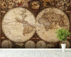 Vintage World Map mural wallpaper room setting