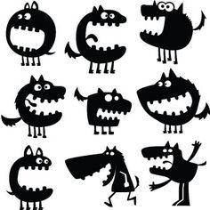 Set con siluetas de monstruos                                                                                                                                                      Más