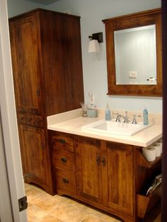 Wormy Maple Rustic Vanity and Linen Tower rustic-bathroom