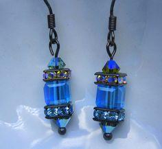 Aquamarine Blue Crystal Cube Earrings