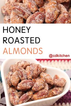These candied almonds make for an irresistible snack. The nuts are oven-baked before being stirred into a sweet honey mixture and cooled. They store well and make a great homemade gift, too. | CDKitchen.com