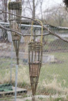 Basketry - lakeshore willows  Willow cone bird feeder for suet