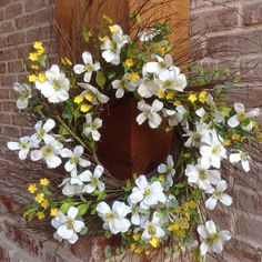 """- Beautiful 22"""" Spiral Wreath with White Dogwood Flowers surrounded by a Smaller Yellow Sun drop Flower and Green Leaf Accents - This Beautiful Color Combination is Perfect Wreath for Spring or Summer"""