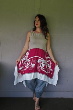 upcycled Lagenlook tunic dress summer frock large X Large unique funky clothing Altered Couture hippie dress Eco Boho by LillieNoraDryGoods