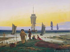 The German romantic painter Caspar David Friedrich was one of the greatest exponents in European art of the symbolic landscape. Framed Canvas Prints, Artwork Prints, Canvas Frame, Poster Prints, C D Friedrich, Dresden Museum, Caspar David Friedrich Paintings, Casper David, Office Wall Art