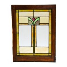 early 20th century antique american arts & crafts style residential stained glass window