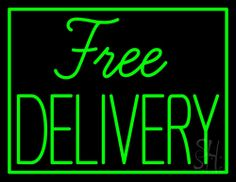 Free Delivery Neon Sign 24 Tall x 31 Wide x 3 Deep, is 100% Handcrafted with Real Glass Tube Neon Sign. !!! Made in USA !!!  Colors on the sign are Green. Free Delivery Neon Sign is high impact, eye catching, real glass tube neon sign. This characteristic glow can attract customers like nothing else, virtually burning your identity into the minds of potential and future customers. Free Delivery Neon Sign can be left on 24 hours a day, seven days a week, 365 days a year...for decades.