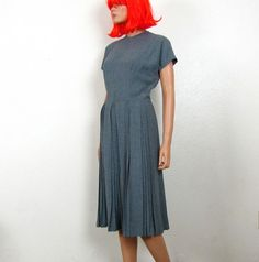 1950s Grey Lightweight Flannel Pleated Dress Pat Hartly by OsoVictoria, $68.00