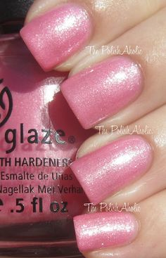 China Glaze Exquisite is a light pink with a heavy silvery white shimmer. This is very reminiscent of OPI Pedal Faster Suzi