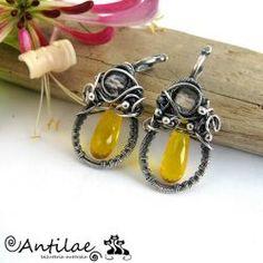 Kwarc cytrynowy, kwarc mistyczny, spinel, biżuteria autorska - Antilae…