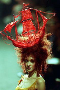 Jean Paul Gaultier - red beaded ship hat