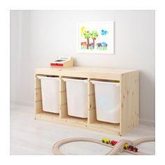 IKEA - TROFAST,80 eur Combinación de almacenaje con cajas, , Una serie de almacenaje resistente y divertida para guardar y organizar los juguetes, sentarse, jugar y relajarse.La estructura tiene muchas ranuras para que coloques las baldas y las cajas donde prefieres y los cambies cuando quieras.Almacenaje bajo para que tus hijos puedan guardar y sacar sus cosas.
