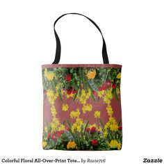 Colorful Floral All-Over-Print Tote Bag