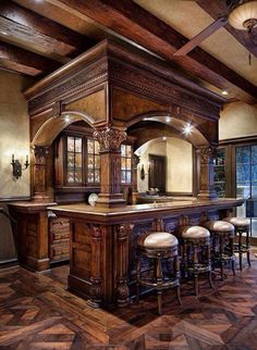 Love the style of this bar setting. Great for a man cave or even a basement bar. Basement Bar Designs, Home Bar Designs, Basement Ideas, Rustic Basement, Industrial Basement, Basement Bars, Basement Ceilings, Basement Makeover, Basement Renovations