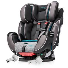 This month, Evenflo introduces one of the most innovative car seats to hit the market, the Platinum Symphony DLX All-in-One Car Seat ($250). The easy-to-install seat (which converts from a five-point harness seat to a booster), features NASA-developed Outlast® fabric technology, a temperature-regulating fabric that keeps kids comfortable during both hot and cold weather, making for a more enjoyable ride for everyone.