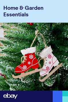 50c310b699 Christmas Ice Skates Shoes Wooden Hanging Ornament Pendant With Bell Party  Decor