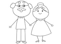 Grandparents day coloring page - white club Simple Line Drawings, Art Drawings For Kids, Drawing For Kids, Easy Drawings, Art For Kids, Coloring Books, Coloring Pages, Grandparents Day Crafts, Family Theme