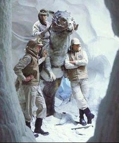 behind the scenes on Star Wars The Empire Strikes Back - rebel base on Hoth with a Tauntaun