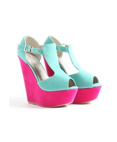 Color blocked suede platform wedges, must resist cuteness overload, love these so much
