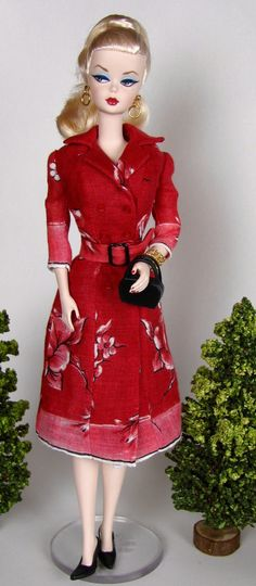 Red double breasted coat dress with self belt for Barbie by HankieChic, on Etsy now
