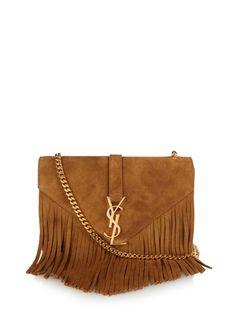 Saint Laurent Monogram fringed suede shoulder bag