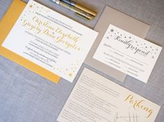 Christina and Greg's Gold Foil Invitations from Bright Room Studio