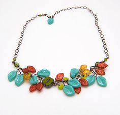 Turquoise and Green Flower Necklace Multi by CherylParrottJewelry, $61.95