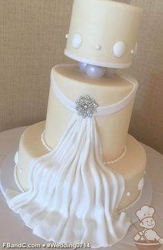 "Design W 0714 | Fondant Cover Wedding Cake | 14""+9"" (8"" Tall) + 6"" 