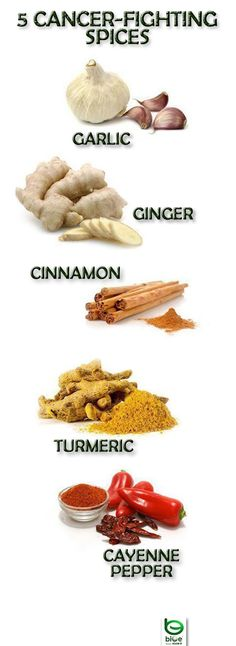 5 Cancer-Fighting Herbs - Garlic, Ginger, Cinnamon, Turmeric and Cayenne Pepper. ~I shouldn't get cancer then. I put Cayenne on everything even in my honey peanut butter dip :) -t Natural Cure For Arthritis, Natural Cancer Cures, Natural Cures, Natural Health, Natural Oil, Natural Treatments, Acne Treatments, Natural Foods, Healthy Life
