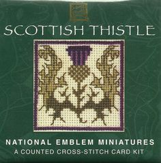 "This is a kit for counted cross stitch by the Textile Heritage Collection entitled ""Scottish Thistle"". It is part of the National Emblem Miniatures series and it is a kit to make a card."