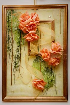 Dried Flower Arrangements, Dried Flowers, Silk Flowers, Flower Frame, Flower Wall, Picture Frame Crafts, Branch Decor, Crepe Paper Flowers, Ribbon Embroidery