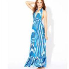 Tbags Long Blue Halter Dress