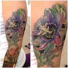 Passion Flower added to a floral sleeve in progress by Phil Garcia (On Mrs. Body Art Tattoos, Tatoos, Tattoo Art, Floral Sleeve, Passion Flower, Tattoo Studio, Tattoo Inspiration, Watercolor Tattoo, Tatting