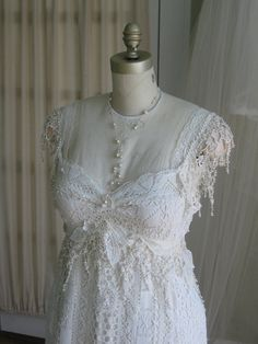 Crochet Vintage Lace Wedding Gown and Sash and by hippiebride