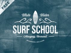 Freebie resources &inspiration. Ianbarnard.co.uk. Surf-School-Logo-Vintage