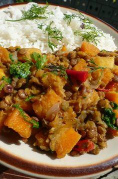 Maslová tekvica so šošovicou a špenátom (fotorecept) - obrázok 6 Garam Masala, Curry, Food And Drink, Vegan, Ethnic Recipes, Curries, Vegans