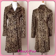 """NWOT J Percy Faux Fur Leopard Print Coat NWOT J Percy Faux Fur Leopard Print Coat.  Faux fur, super soft.  Fully lined with red silk.  Side slanted front pockets.  Back vent.  Measures 36"""" from shoulder to hem.  Measures 18"""" from pit to pit, laying flat.  Fits more like a 4.  New, never used. J. Percy Jackets & Coats"""
