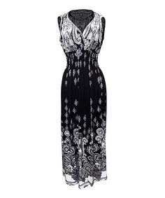 Another great find on #zulily! Black & White Paisley Surplice Dress by Peach Couture #zulilyfinds