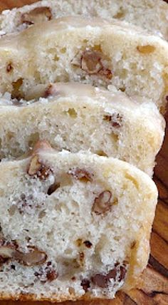 Walnut Lemon Loaf ~ Drizzled with a glaze made from butter, powdered sugar, vanilla and lemon juice.