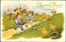Ak Glückwunsch Ostern, Küken, Ostereier, Kinder, Kirche, Frühling - 944266