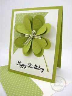 handmade St Patrick's Day card … for a birthday … like the heart four leaf clover with two layers and a bow at the center … Stampin' Up! Handmade Birthday Cards, Happy Birthday Cards, Birthday Greetings, O Happy Day, Holiday Cards, Christmas Cards, St Patricks Day Cards, Tarjetas Diy, Creative Cards