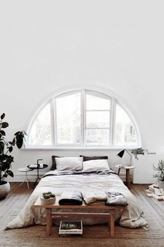 Scandinavian bedroom with big window - home decor