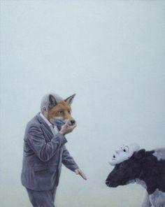 Ohne Titel (Mann und Kuh mit Masken) - Untitled (Man and Cow with Mask) - 2012