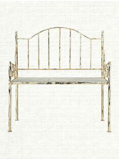 Iron Bench With Wood Seat In Distressed Cream