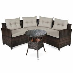 Made of sturdy steel and hand-woven rattan, the sofa set is sturdy and durable which can be used for long time. And it can withstand moderate change of weather outdoors. Rattan Outdoor Furniture, Dining Furniture Sets, Outdoor Sofa Sets, Wicker Sofa, Outdoor Sectional, Sectional Sofa, Patio Sets, Bedroom Furniture, Furniture Ideas